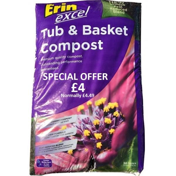 Excel Reduced Peat 50L Tub & Basket Compost