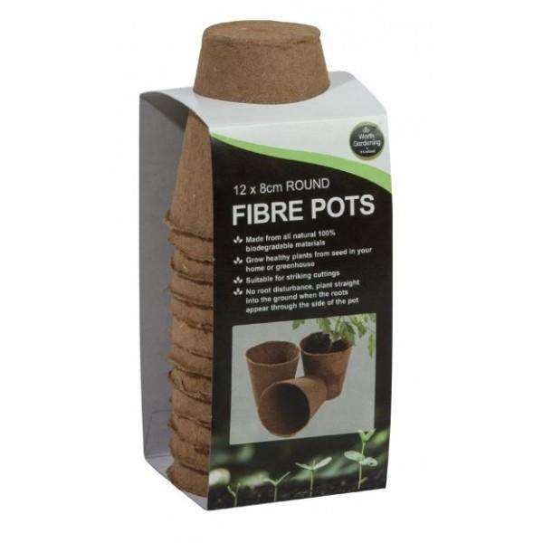 Fibre Pots - Round (8cm) - x12